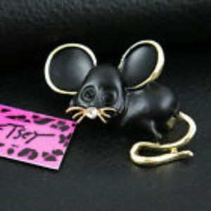 Betsey Johnson Black Mouse Brooch